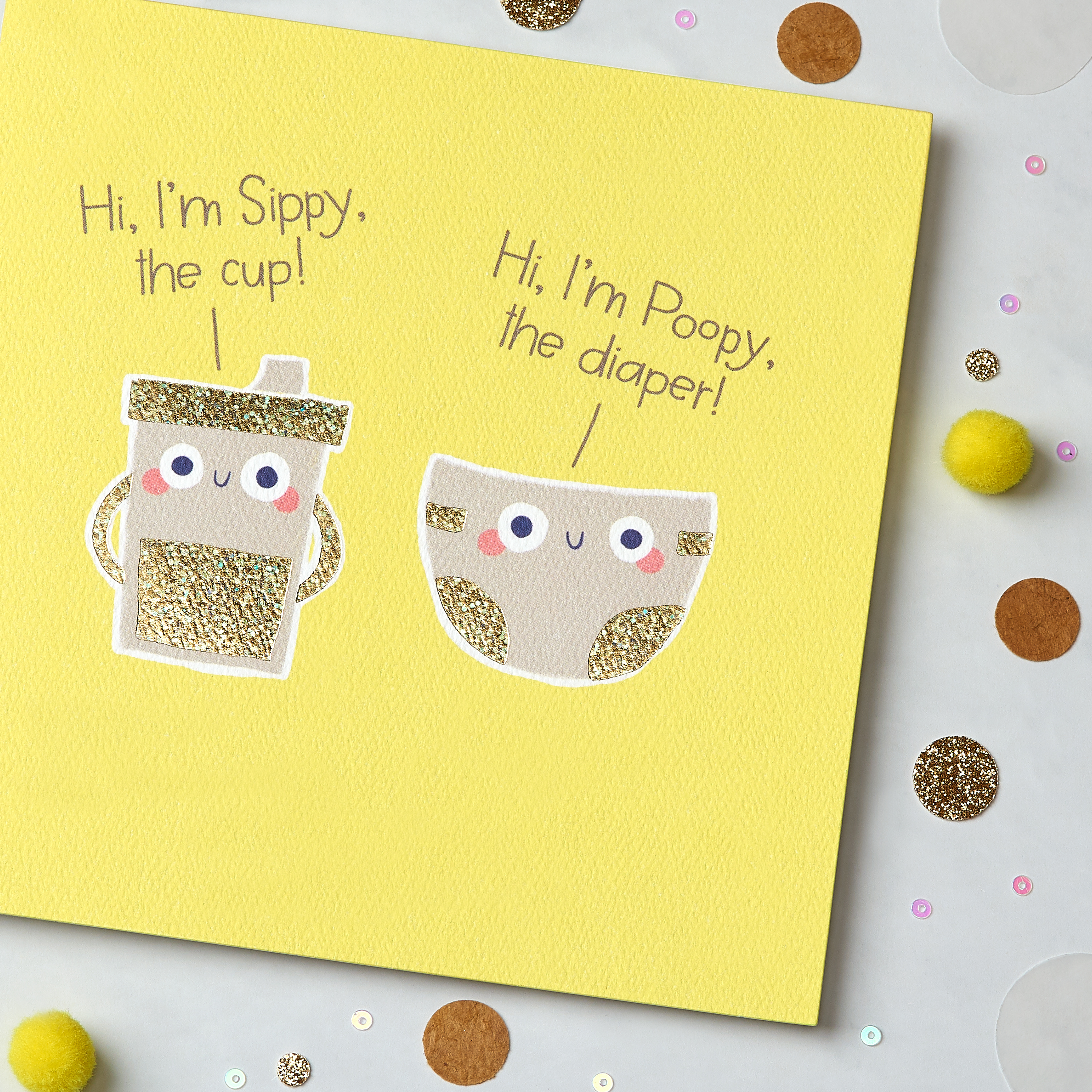 Sippy and Poopy New Baby Congratulations Greeting Card image