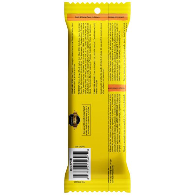 Back-Image showing Crunch Sticks Apple & Orange Flavor