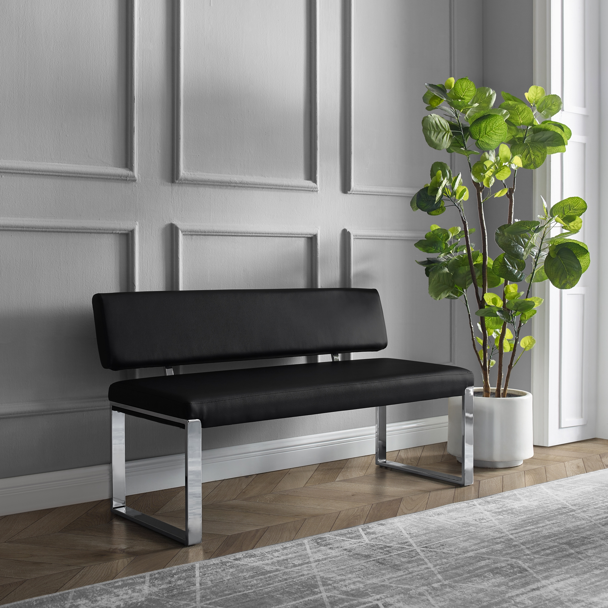 Inspired Home Black Leather PU Bench Upholstered Chrome Legs