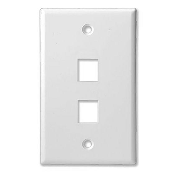 2Port White Keystone Wall Plate Wave Electronics