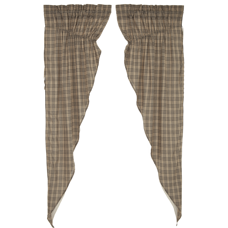 Sawyer Mill Charcoal Plaid Prairie Long Panel Curtain Set of 2 84x36x18