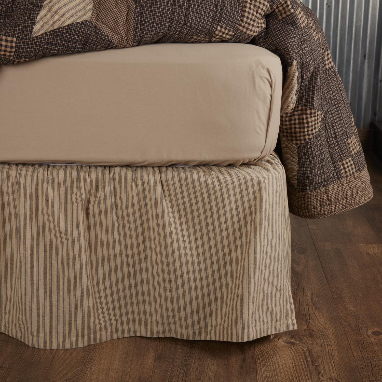 Farmhouse Star Ticking Stripe Queen Bed Skirt 60x80x16