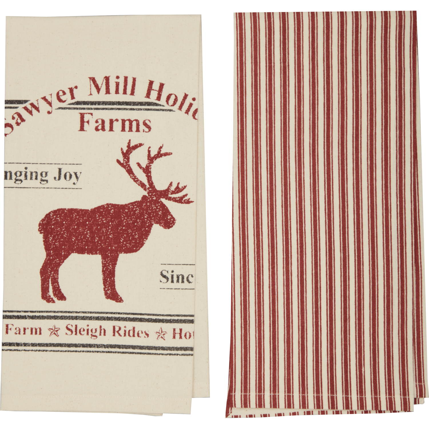 Sawyer Mill Reindeer Unbleached Natural Muslin Tea Towel Set of 2 19x28