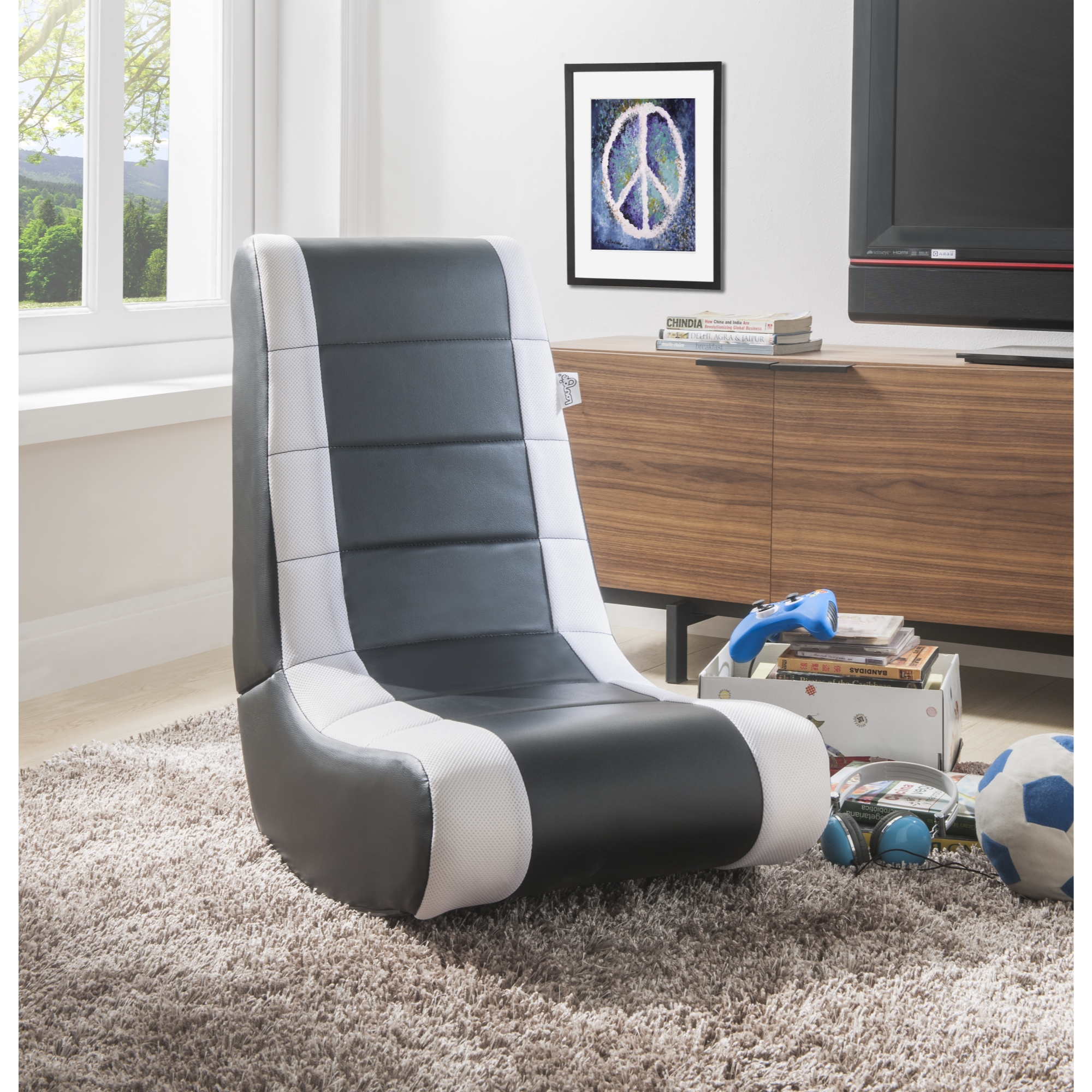Loungie Black/White PU Leather Chair For Kids, Teens, Adults, Boys Or Girls