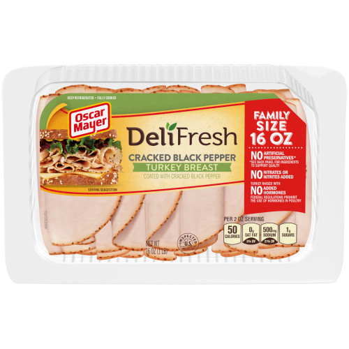 Oscar Mayer Deli Fresh Cracked Black Pepper Turkey Breast Tray, 16 oz
