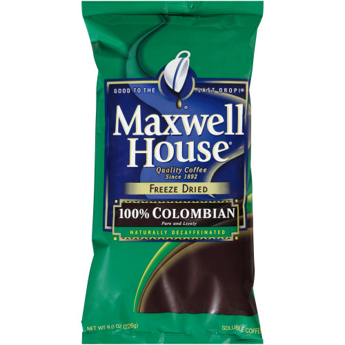 MAXWELL HOUSE 100% Colombian Freeze-Dried Decaf Coffee, 8 oz. Bag (Pack of 8)