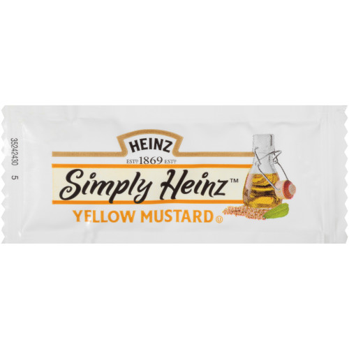 SIMPLY HEINZ Single Serve Yellow Mustard, 5.5 gr. Packets (Pack of 500)