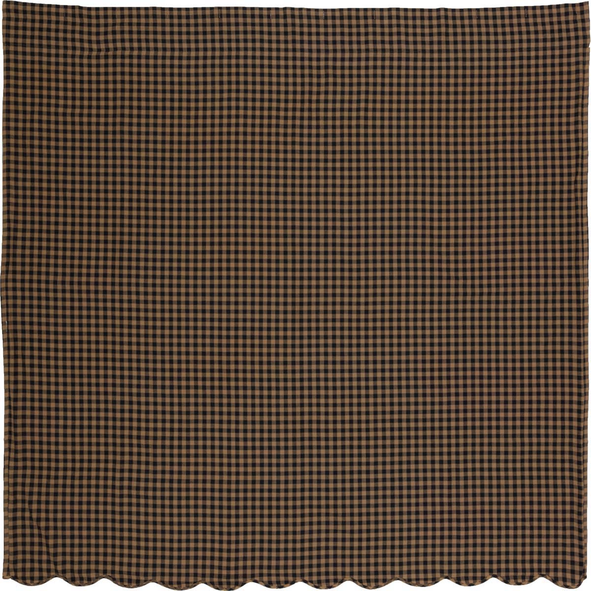 Black Check Scalloped Shower Curtain 72x72