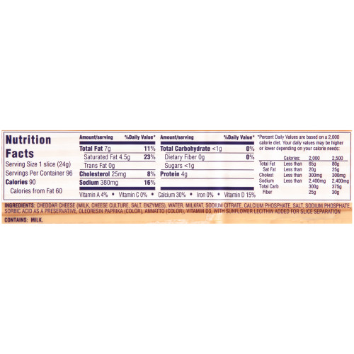 KRAFT American Sliced Ribbon Cheese (96-128 Slices), 5 lb. (Pack of 4)