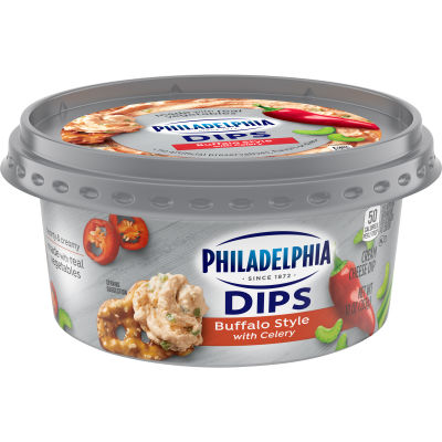 Philadelphia Dips Buffalo Style with Celery Cream Cheese Dip 10 oz Tub