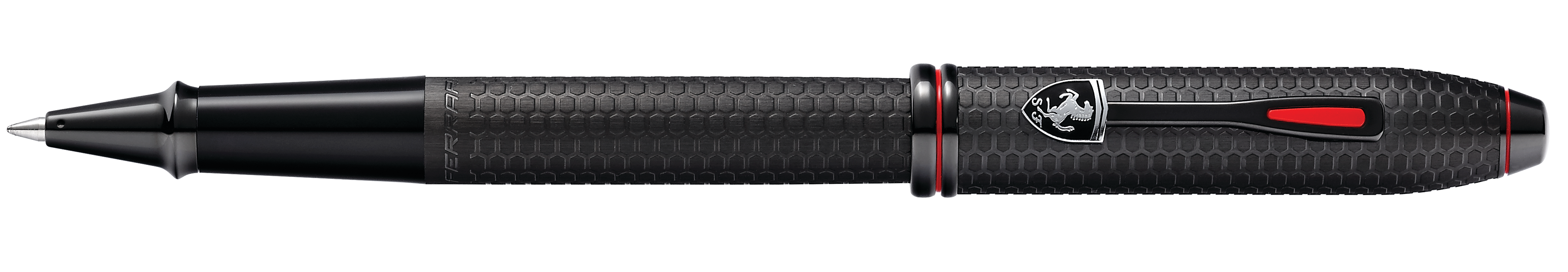 Cross Townsend Collection for Scuderia Ferrari Brushed Black Chemically Etched Honeycomb Pattern Rollerball Pen