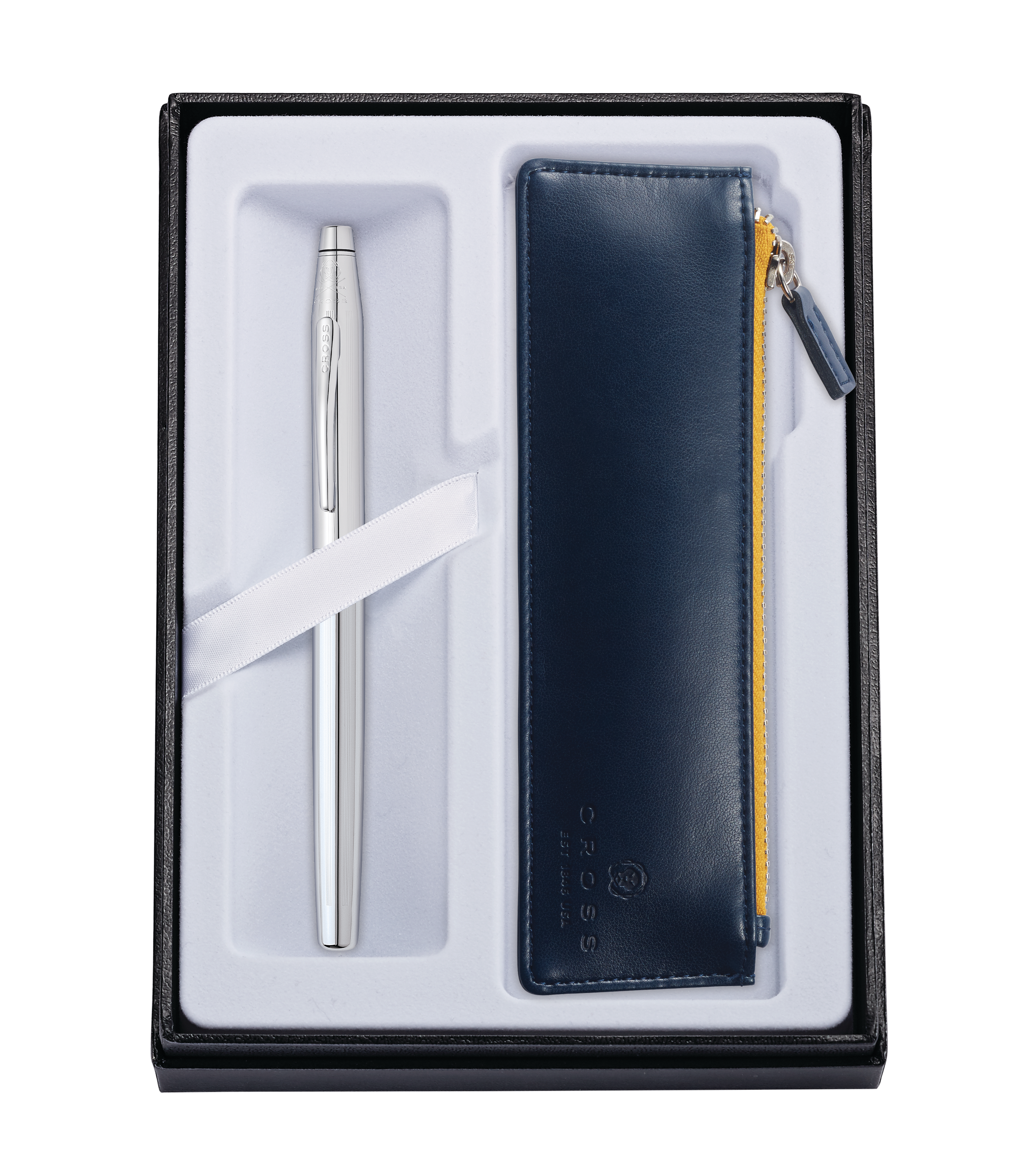 Classic Century Chrome Rollerball with Midnight Blue Pouch