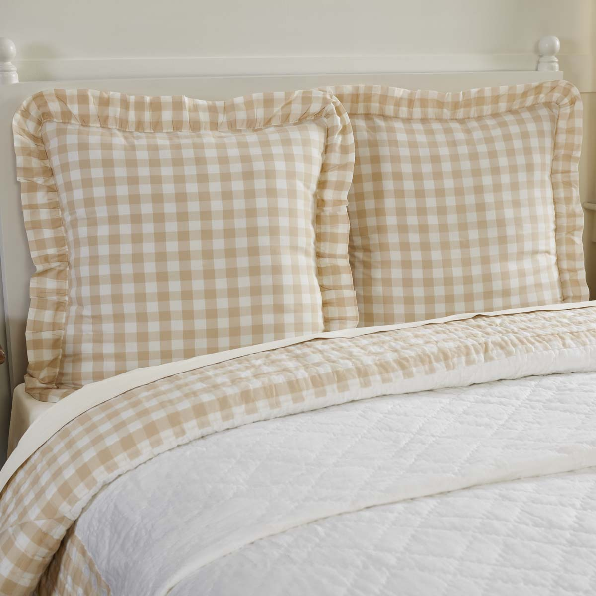 Annie Buffalo Tan Check Fabric Euro Sham 26x26
