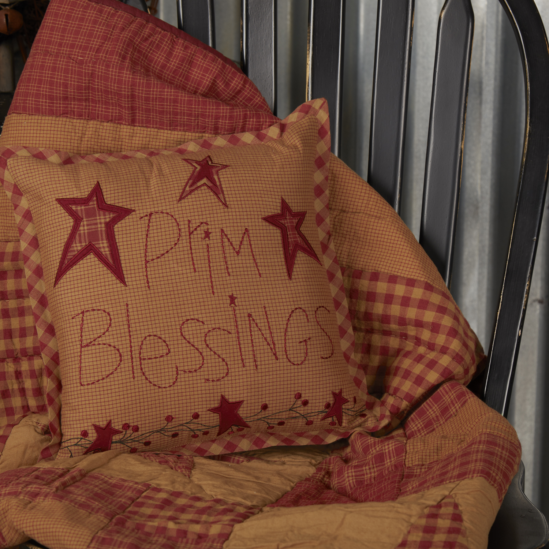 Ninepatch Star Prim Blessings Pillow 12x12