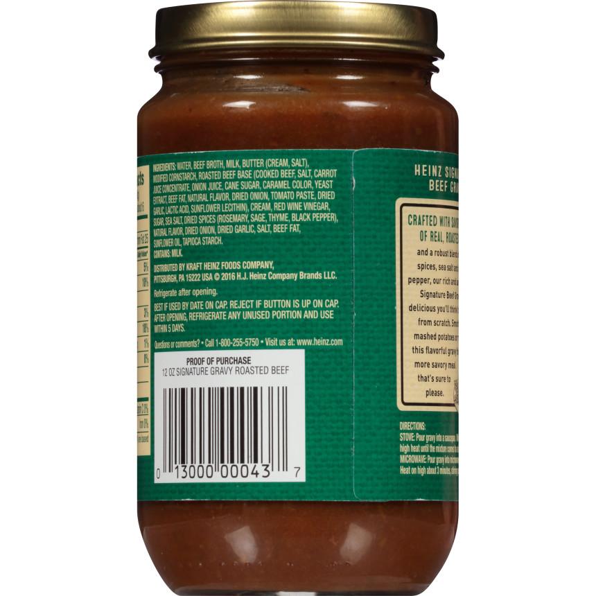 Heinz Signature Rich & Savory Roasted Beef Gravy 12 oz Jar