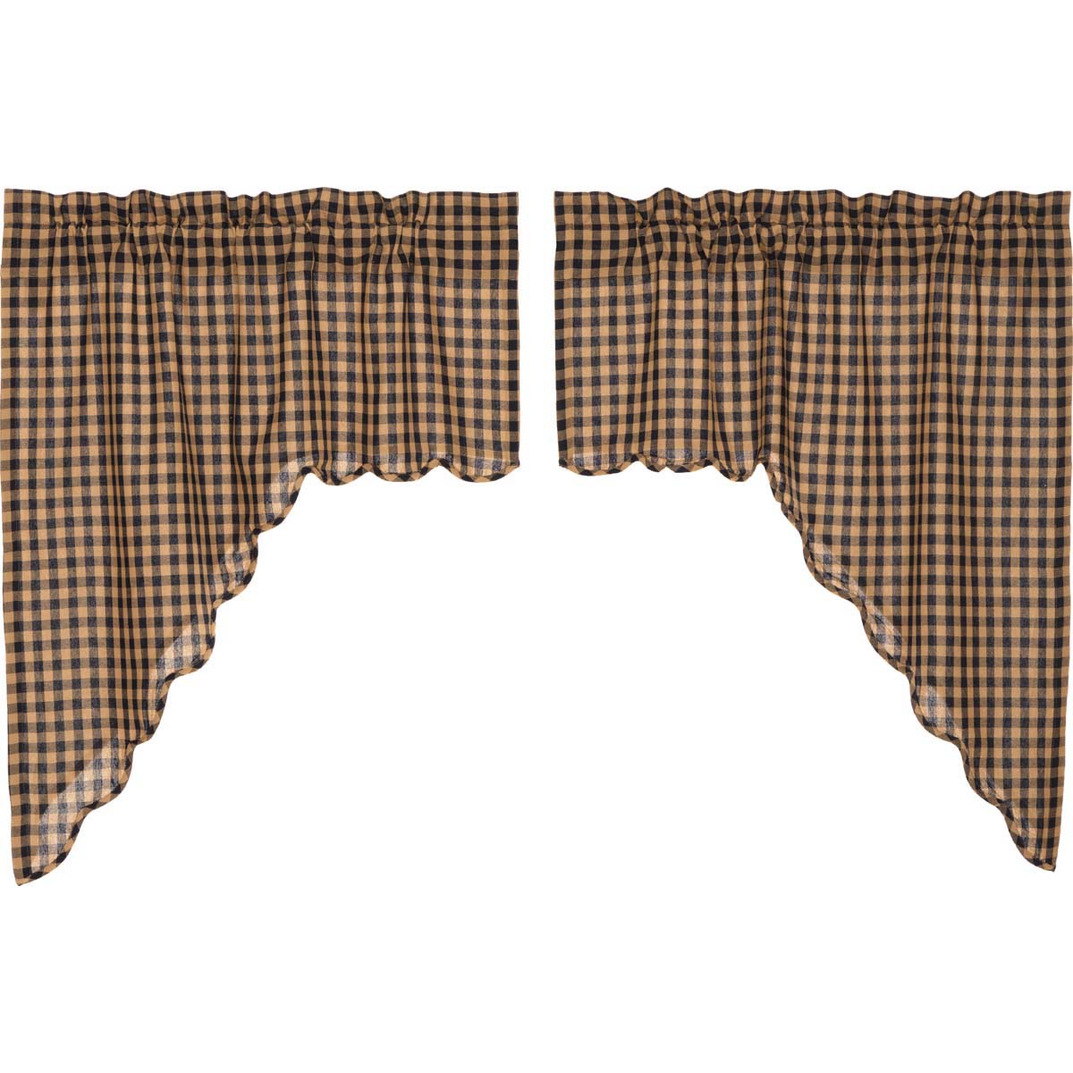 Navy Check Scalloped Swag Set of 2 36x36x16