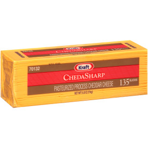 KRAFT ChedaSharp Sliced Cheddar Cheese (135 Slices), 5 lb. (Pack of 4) image
