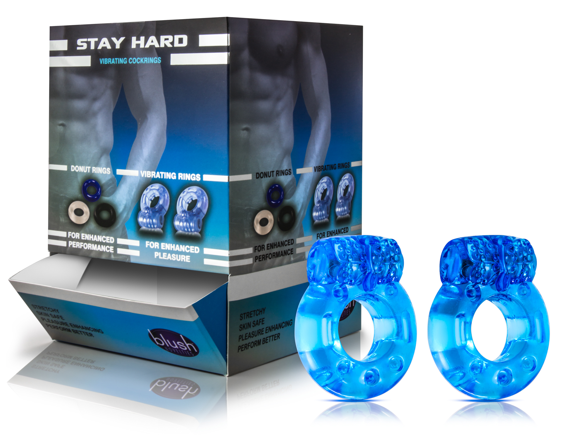Stay Hard - Disposable Vibrating Cock Rings - 32 pc. Display