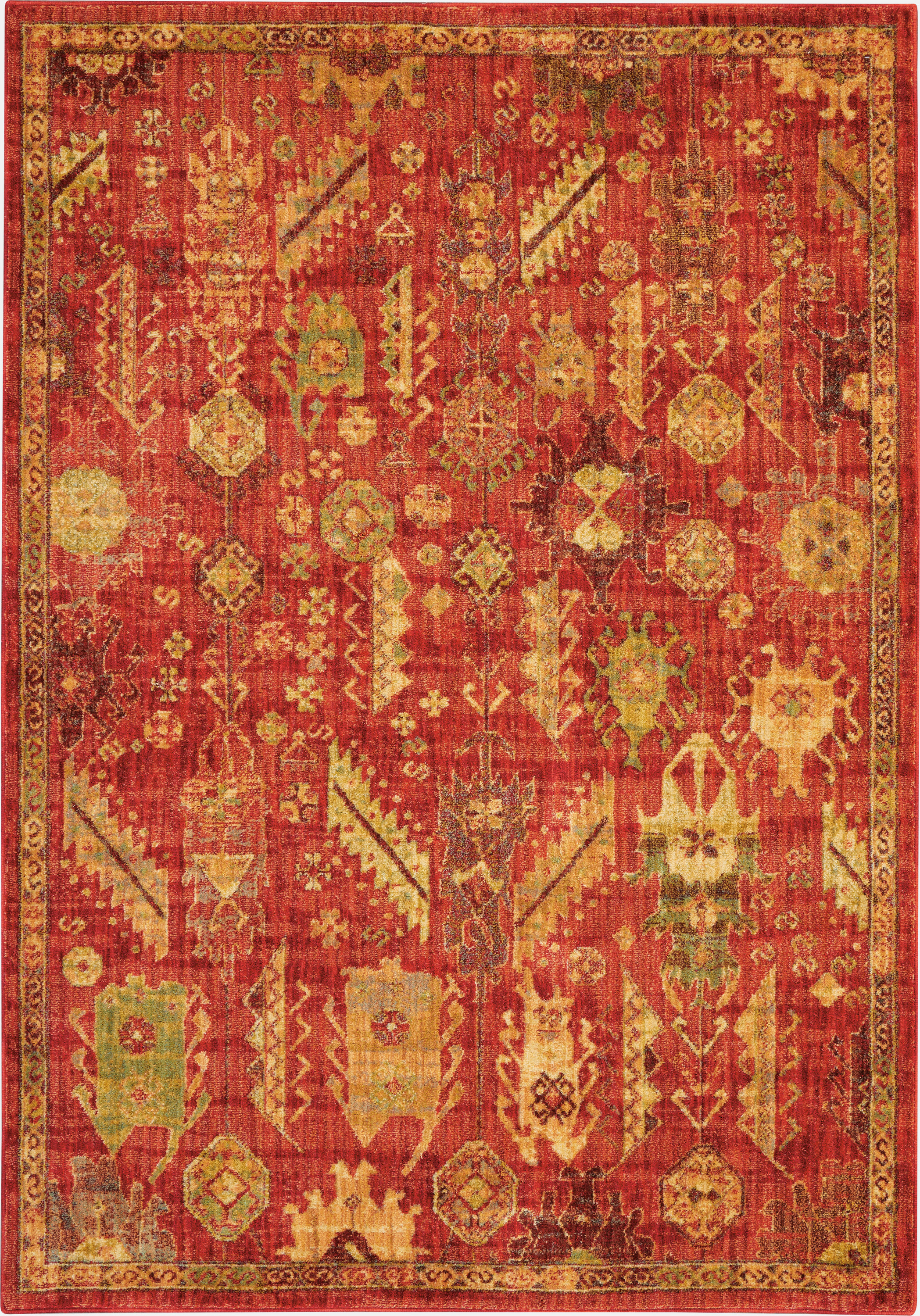Nourison Jewel 4' X 6' Red Tribal Area Rug