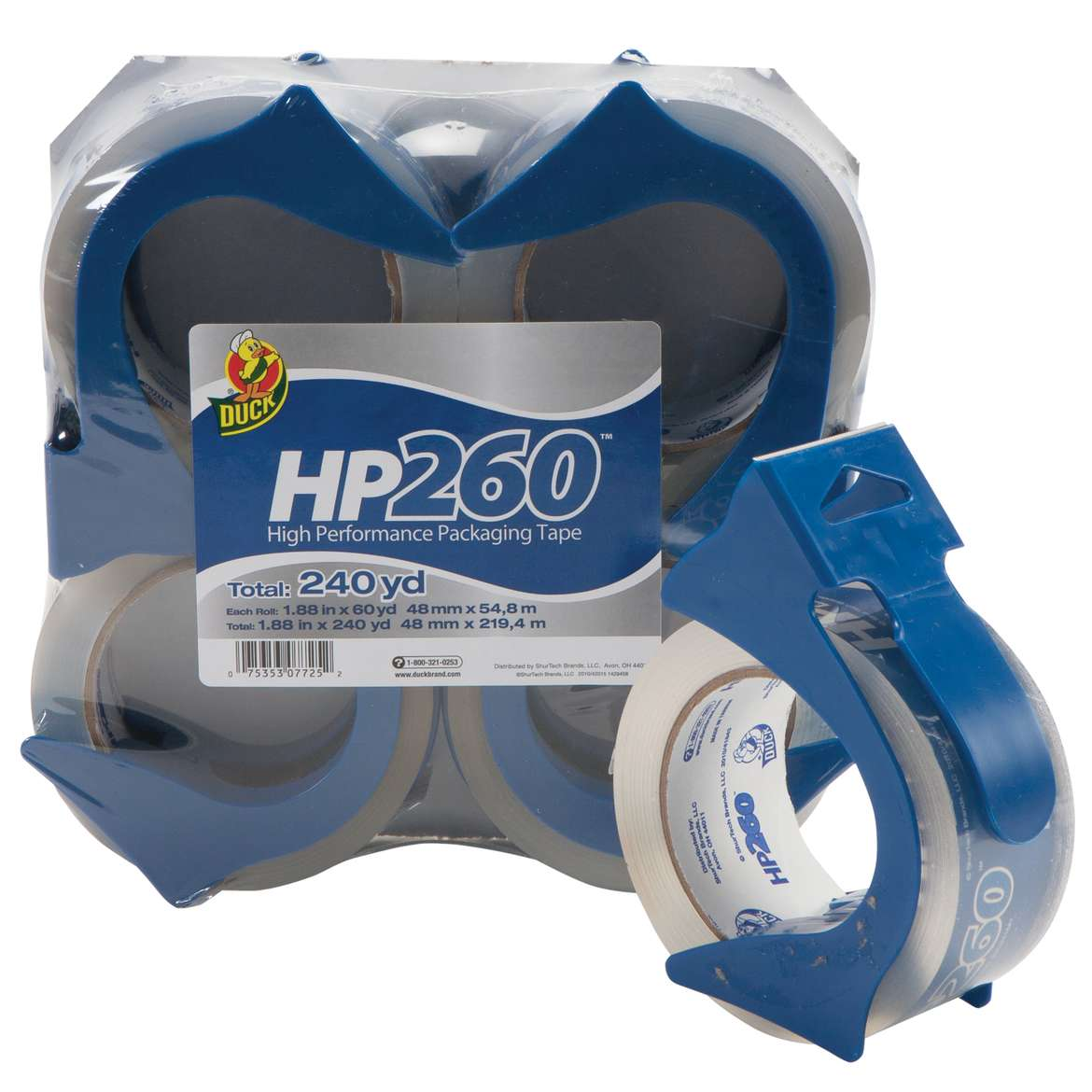 HP260™ Packaging Tape with Dispenser - Clear, 4 pk, 1.88 in. x 60 yd. Image