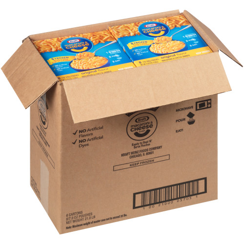 KRAFT Single Serve Frozen Mac & Cheese, 8-7 oz. Pouches (Pack of 6)