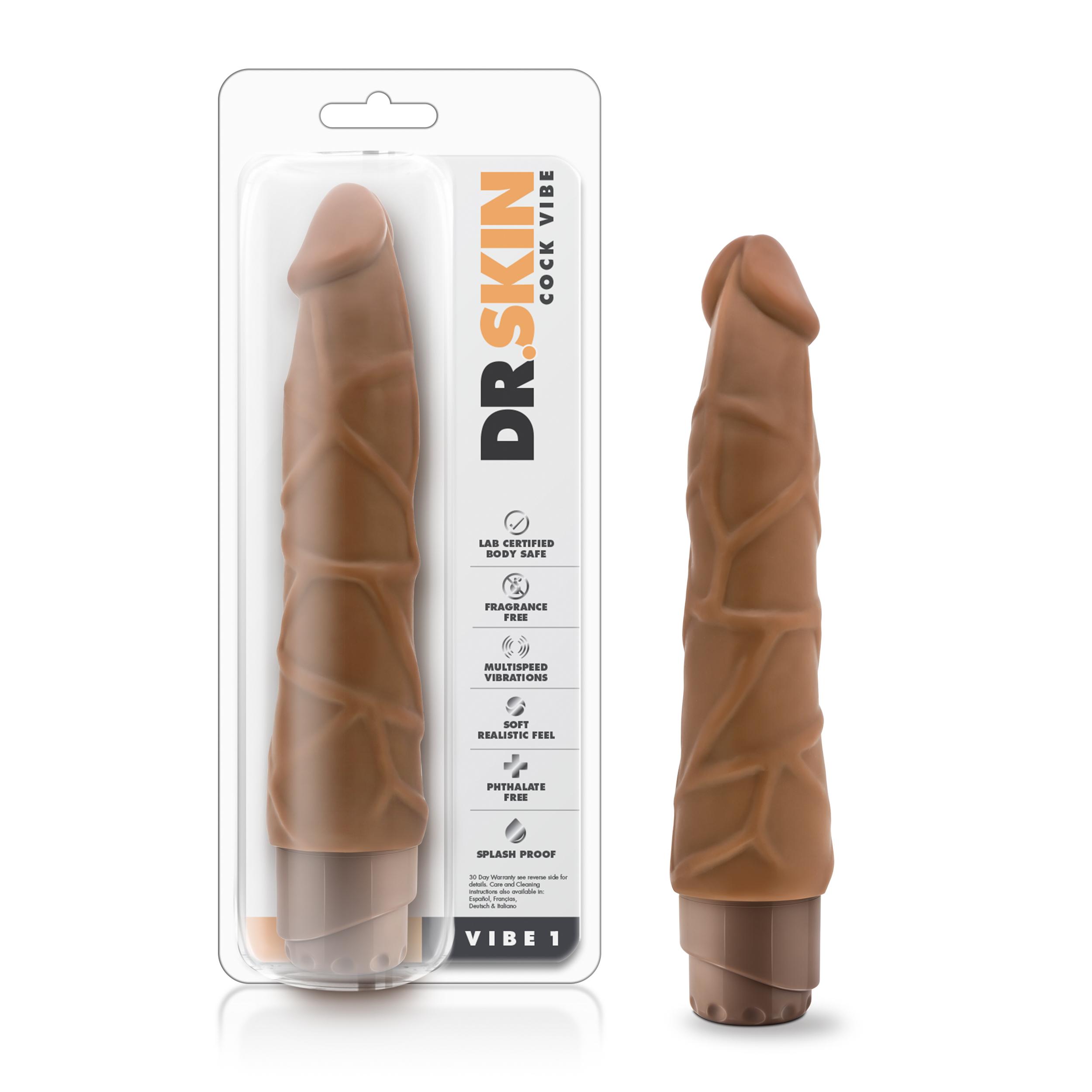 Dr. Skin - Cock Vibe 1 - 9 Inch Vibrating Cock - Mocha