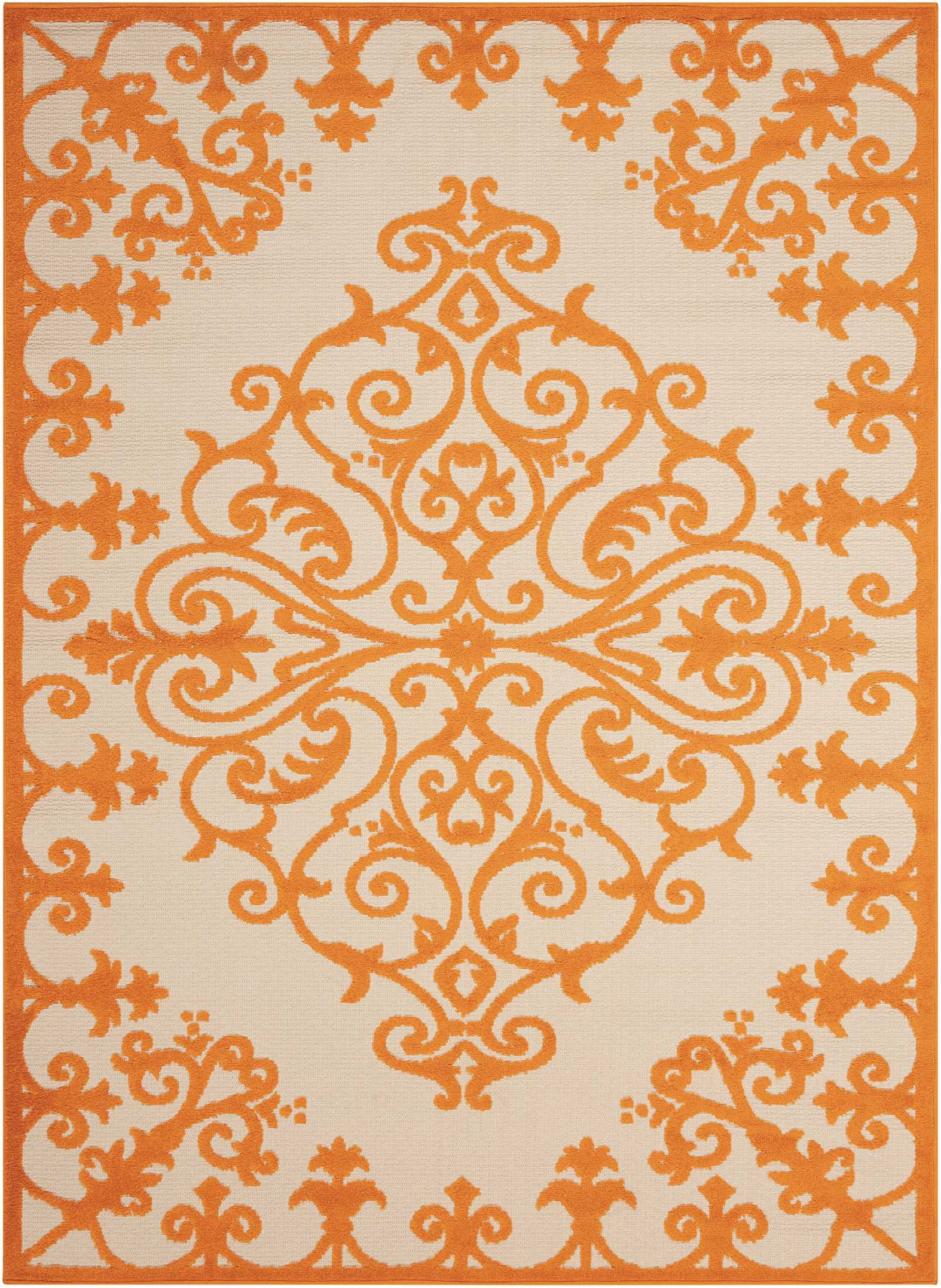 Nourison Aloha 5'X8' Orange And White Textured  Indoor-Outdoor Rug