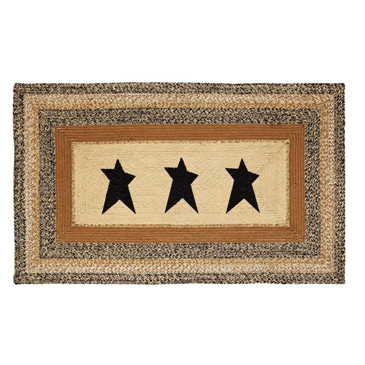 Kettle Grove Jute Rug Rect Stencil Star 36x60