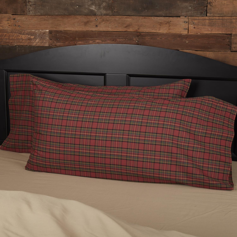 Tartan Red Plaid King Pillow Case Set of 2 21x40