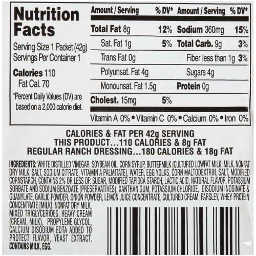 HEINZ Single Serve Light Ranch Salad Dressing, 1.5 oz. Packets (Pack of 60)