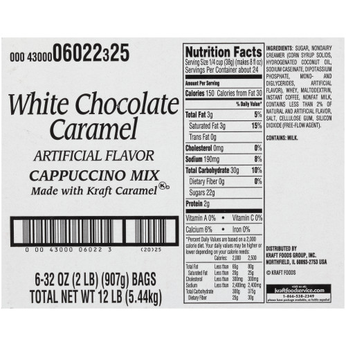 GENERAL FOODS INTERNATIONAL CAFÉ White Chocolate Caramel Powdered Mix, 2 lb. Container (Pack of 6)