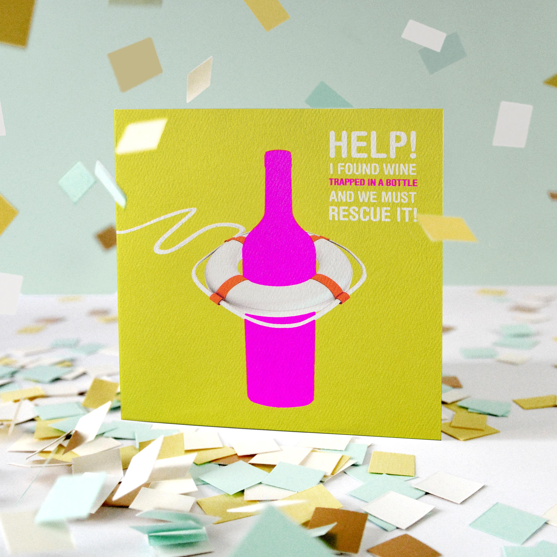 Wine Greeting Card - Birthday, Thinking of You, Friendship image