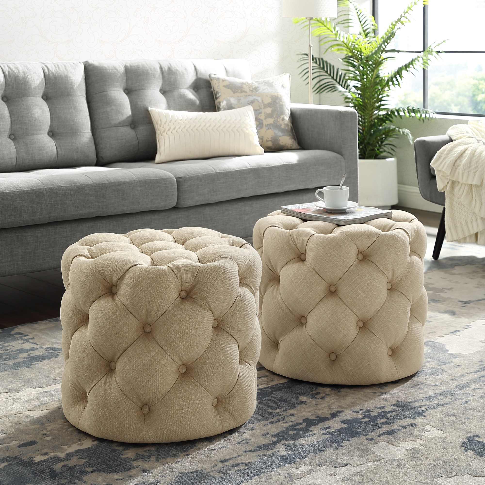 Inspired Home Beige Linen Ottoman Tufted Allover