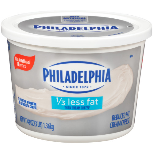PHILADELPHIA Reduced Fat Cream Cheese Spread, 3 lb. Tub (Pack of 6)