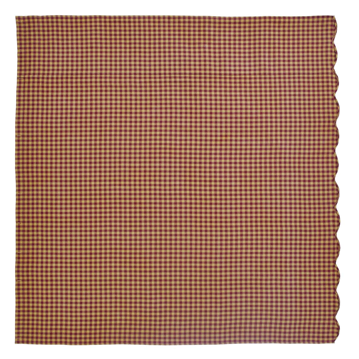 Burgundy Check Scalloped Shower Curtain 72x72