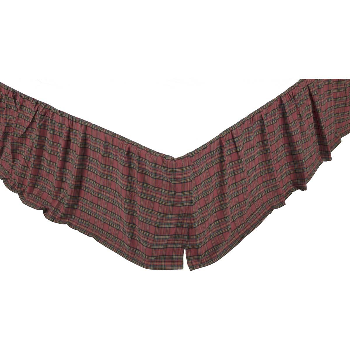 Tartan Red Plaid Twin Bed Skirt 39x76x16