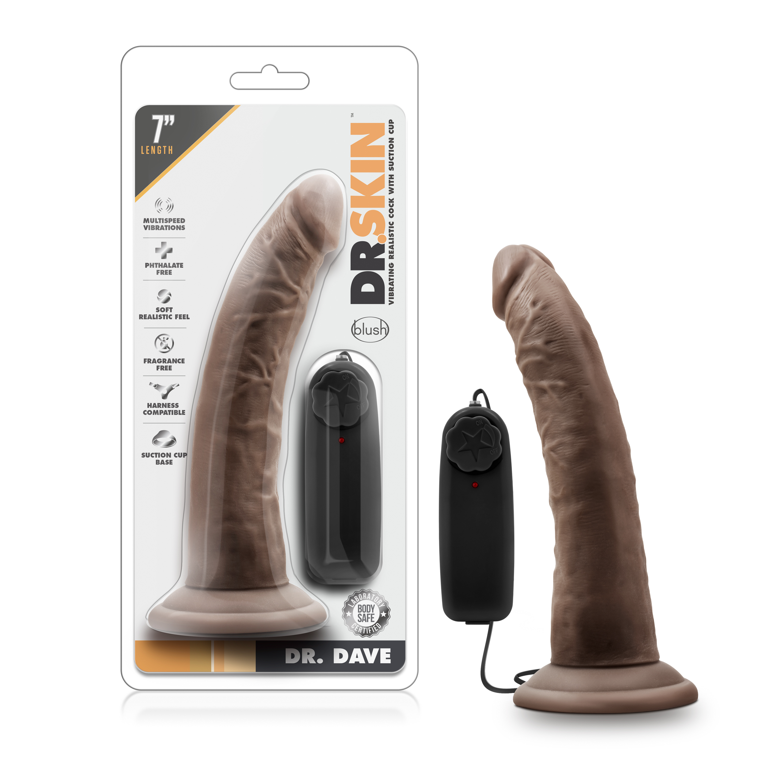 Dr. Skin - Dr. Dave - 7 Inch Vibrating Cock with Suction Cup - Chocolate
