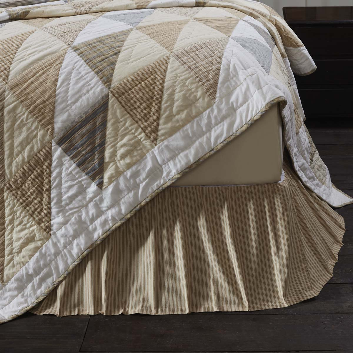 Joanna Ticking Stripe King Bed Skirt 78x80x16