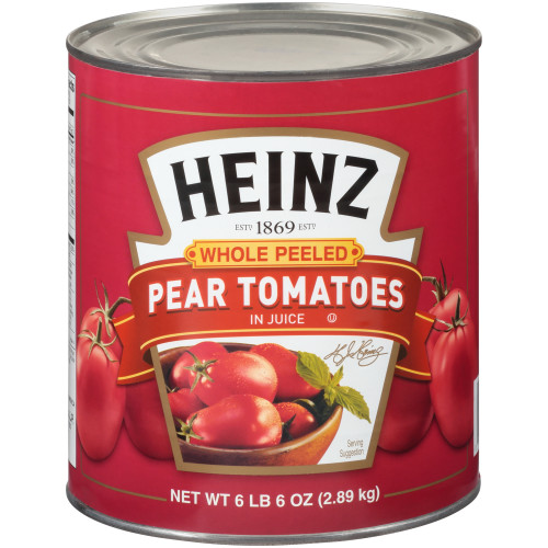 HEINZ Whole Peeled Pear Tomatoes in Juice, 102 oz. Can (Pack of 6)