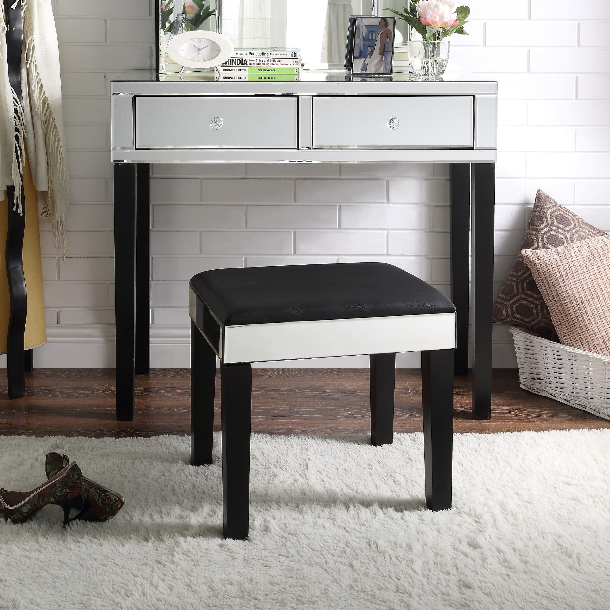 Inspired Home Black Jewelry Furniture Mirrored 2-Drawer
