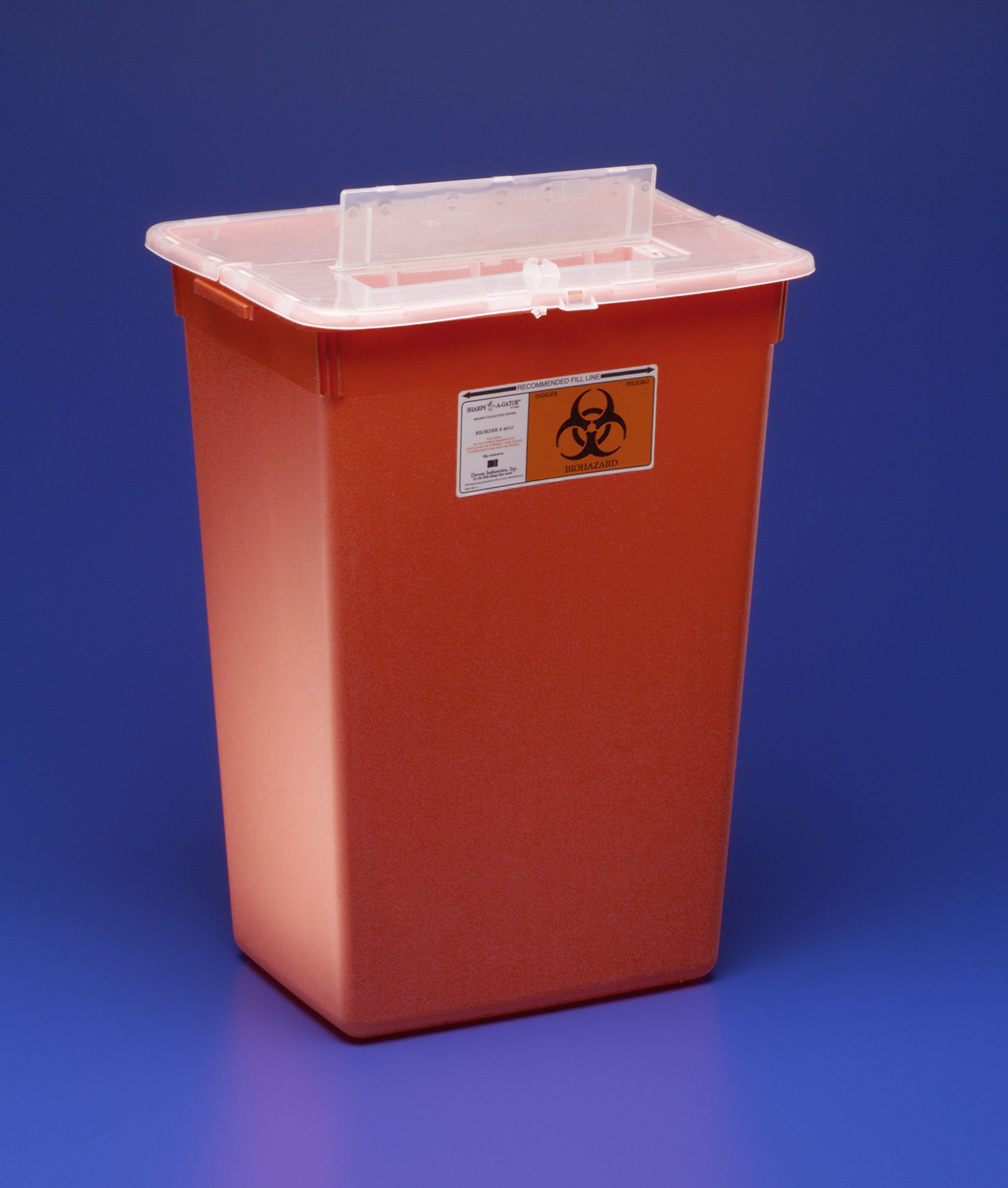 Sharps Container, Sharps-A-Gator 1-Piece 15-1/2 H X 21-1/2 W X 12 D Inch 10 Gallon Red Vertical Entry Lid, 31143665 - EACH