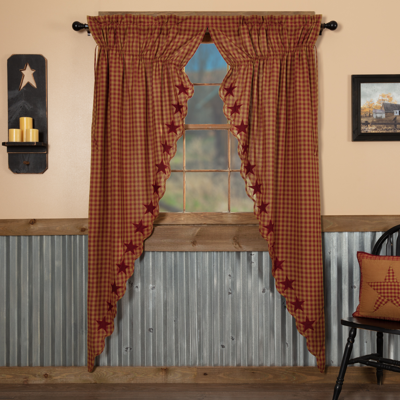 Burgundy Star Scalloped Prairie Long Panel Set of 2 84x36x18