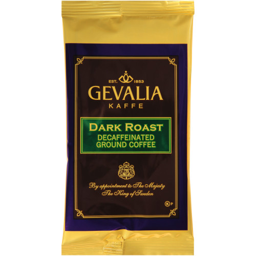 GEVALIA Dark Roast Decaf Coffee Bag, 2.5 oz. Bag (Pack of 24)