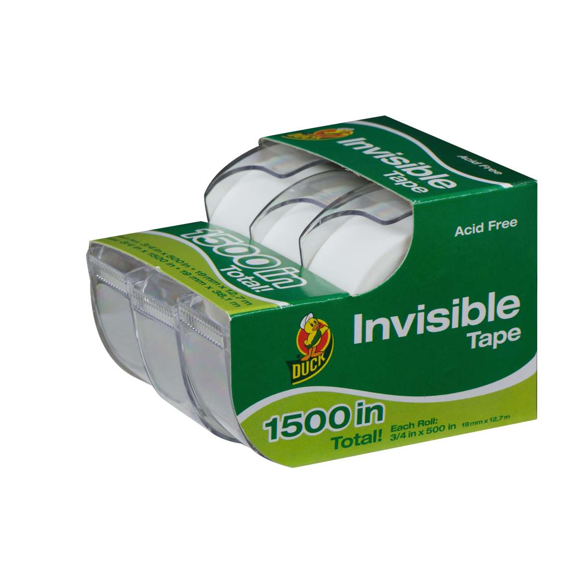 Duck® Brand Matte Finish Invisible Tape - Clear, 3 pk, .75 in. x 500 in. Image