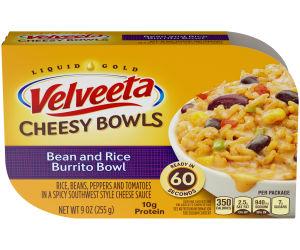 Kraft Velveeta Cheesy Bowls Bean & Rice Burrito Bowl, 9 oz Tray