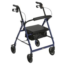 4 Wheel Rollator, McKesson, 32 to 37 Inch Blue Folding Aluminum Frame 32 to 37 Inch, 146-R726BL - EACH