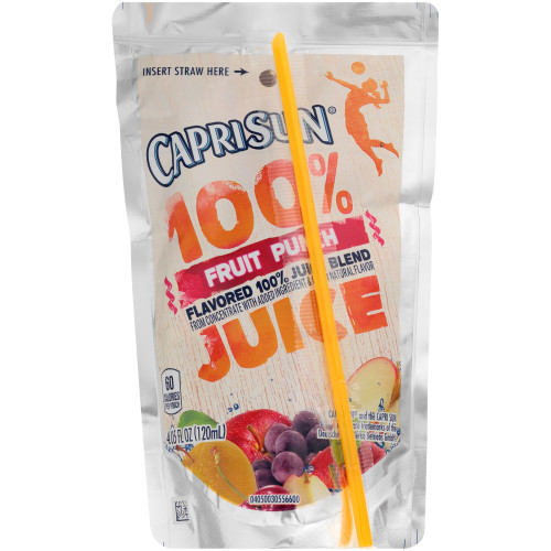 Capri Sun 100% Juice Fruit Punch Pouch, 4 oz. Pouches (Pack of 48)