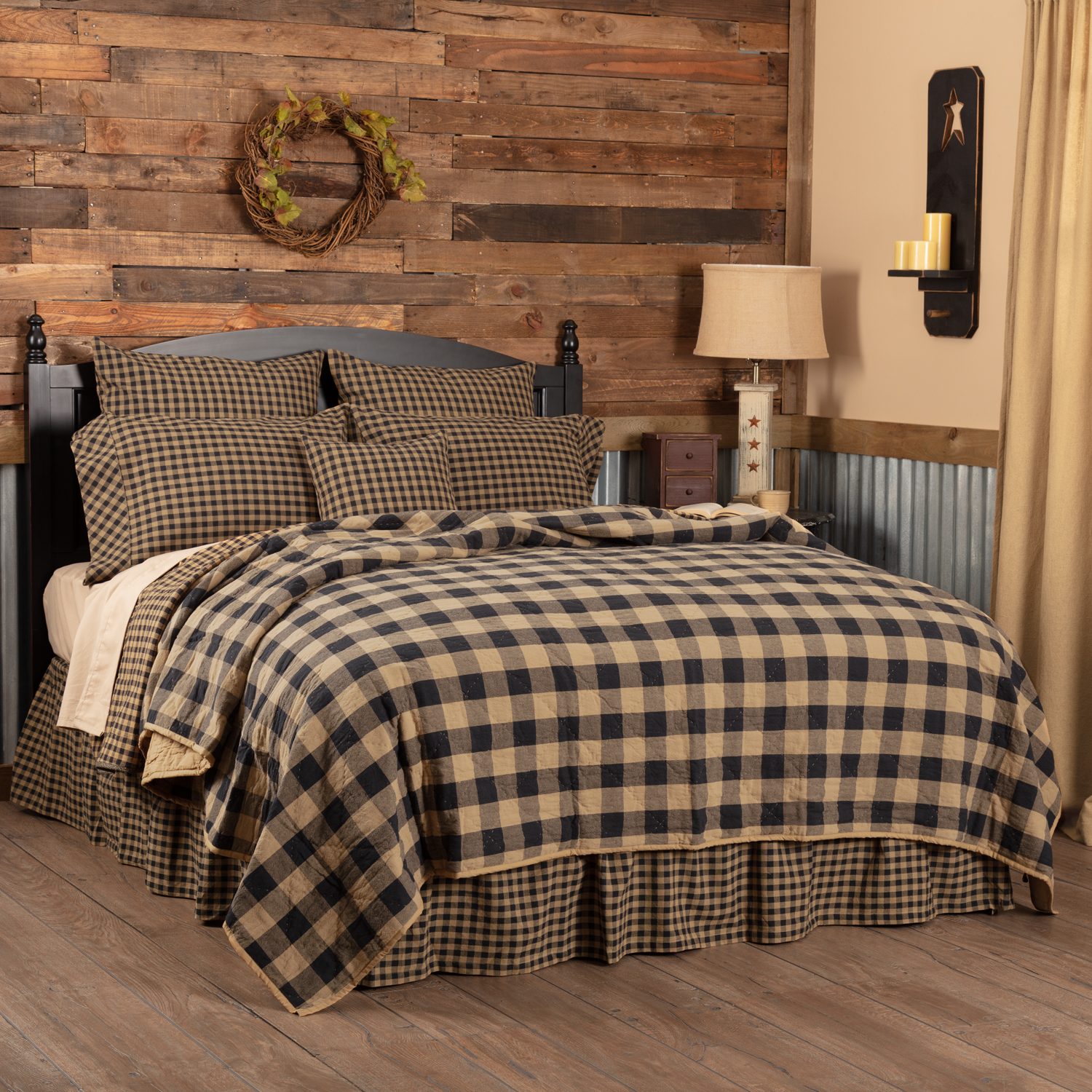 Black Check Twin Quilt Coverlet 68Wx86L