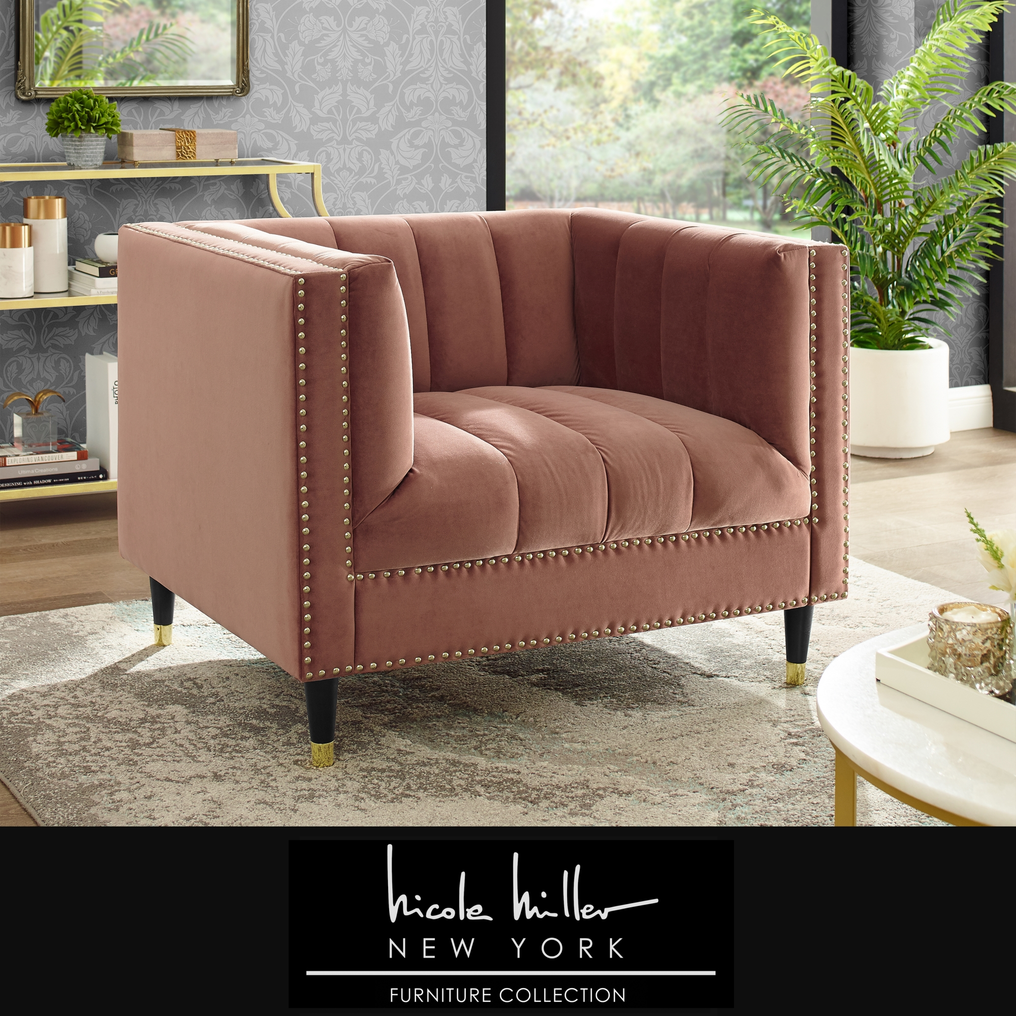 Nicole Miller Blush/Gold Velvet Club Chair Line Stitch Tufted Gold Nailhead Trim and Tapered Gold Leg Tip