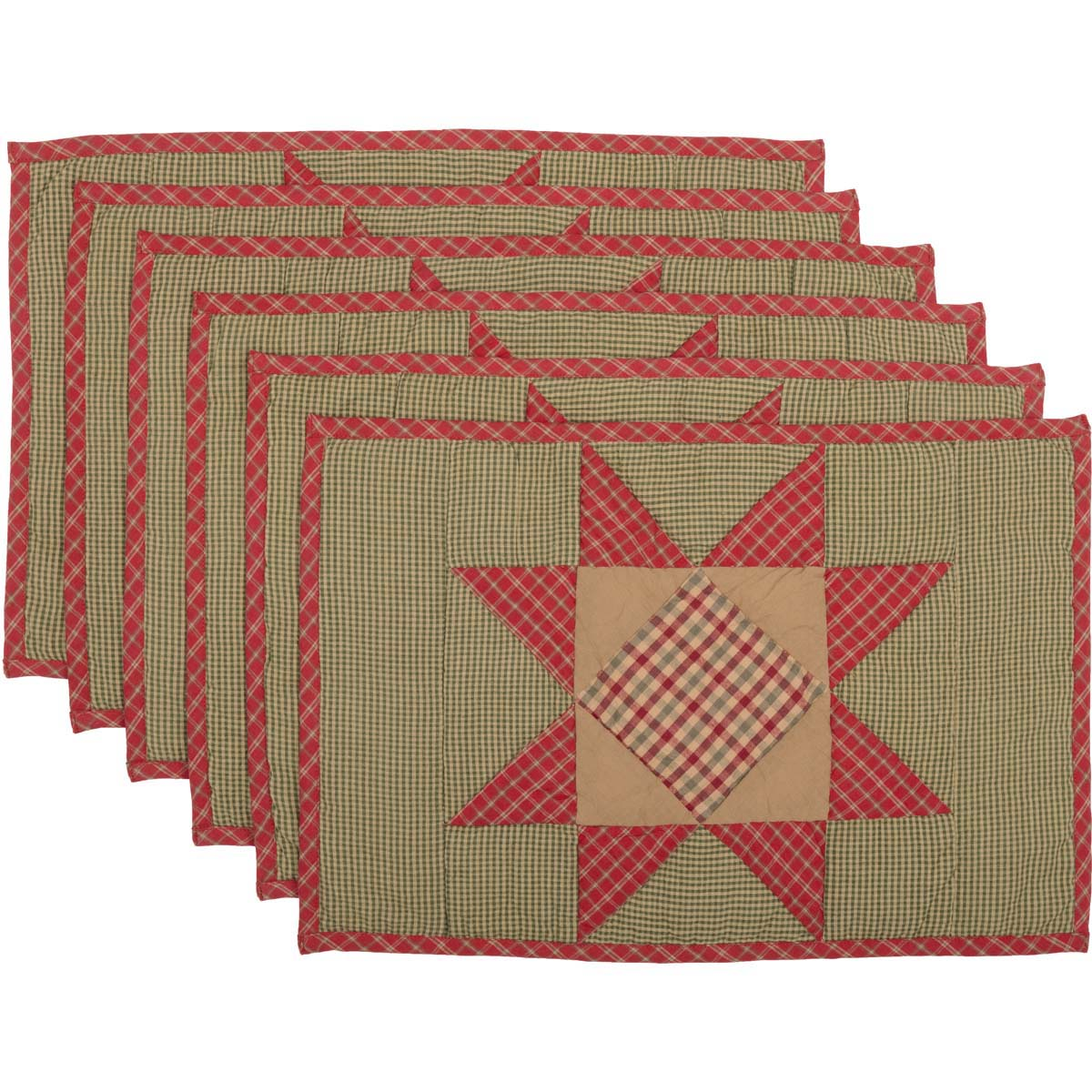 Dolly Star Quilted Placemat Set of 6 12x18